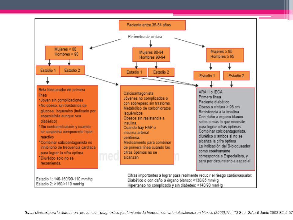 Guías clínicas para la detección, prevención, diagnóstico y tratamiento de hipertensión arterial sistémica en México (2008)‡Vol.