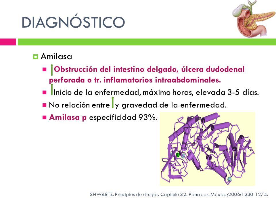 DIAGNÓSTICO Amilasa. Obstrucción del intestino delgado, úlcera dudodenal perforada o tr. inflamatorios intraabdominales.