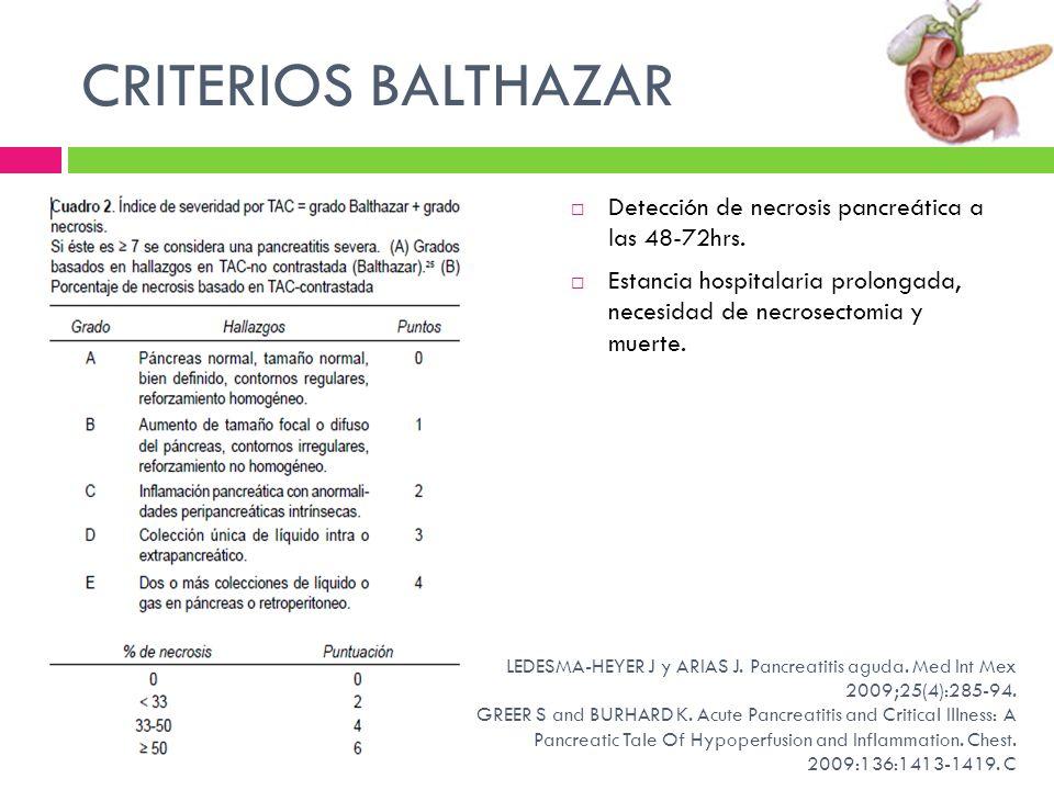 CRITERIOS BALTHAZAR Detección de necrosis pancreática a las 48-72hrs.