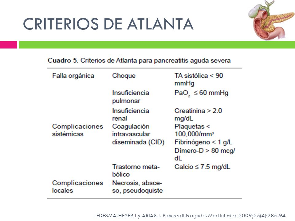 CRITERIOS DE ATLANTA LEDESMA-HEYER J y ARIAS J. Pancreatitis aguda. Med Int Mex 2009;25(4):