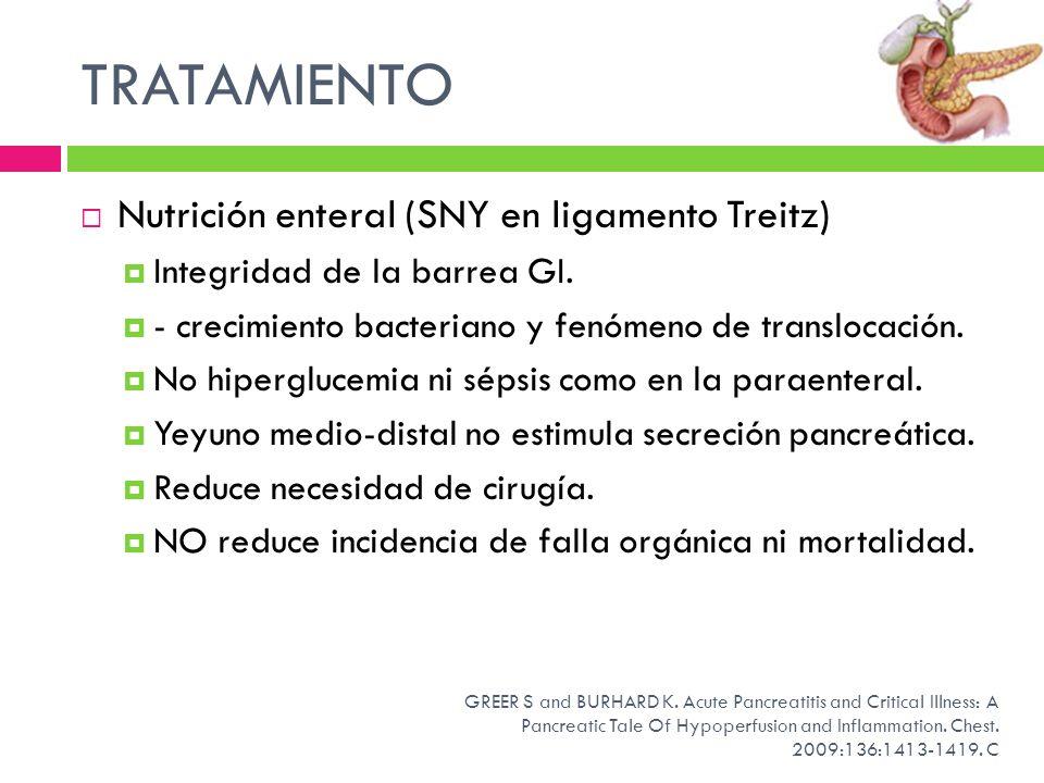 TRATAMIENTO Nutrición enteral (SNY en ligamento Treitz)