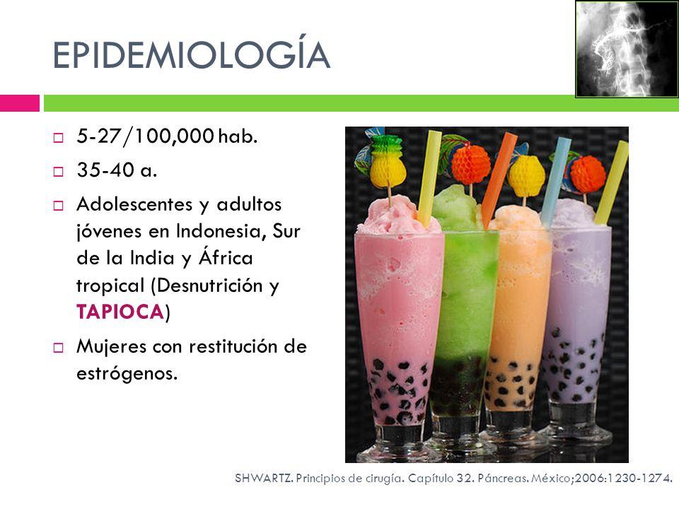 EPIDEMIOLOGÍA 5-27/100,000 hab. 35-40 a.