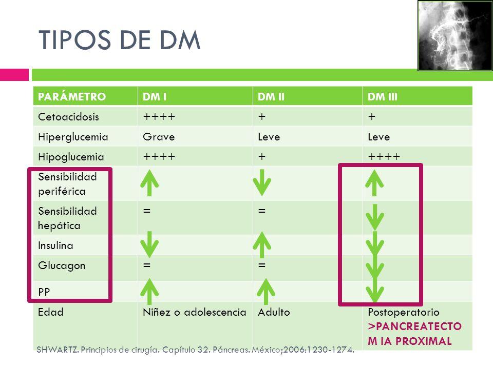 TIPOS DE DM PARÁMETRO DM I DM II DM III Cetoacidosis ++++ +