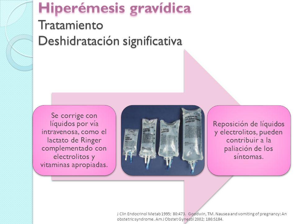 Hiperémesis gravídica Tratamiento Deshidratación significativa