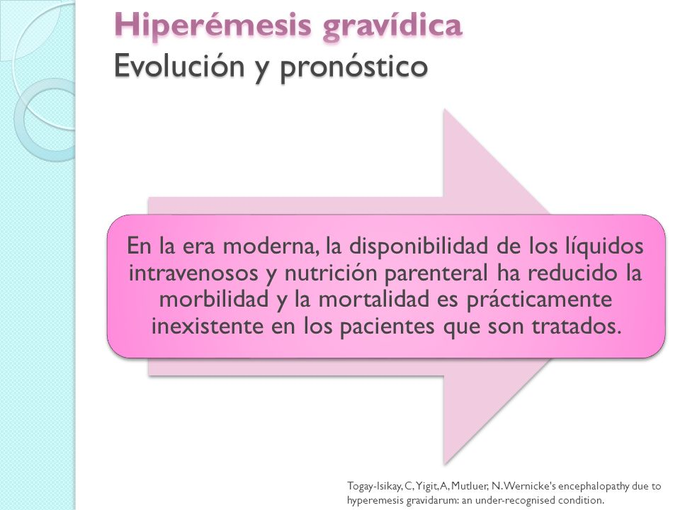 Hiperémesis gravídica Evolución y pronóstico