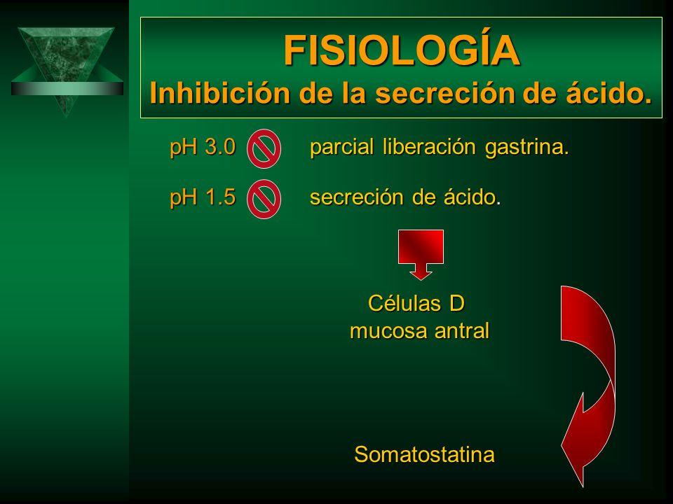 FISIOLOGÍA Inhibición de la secreción de ácido.