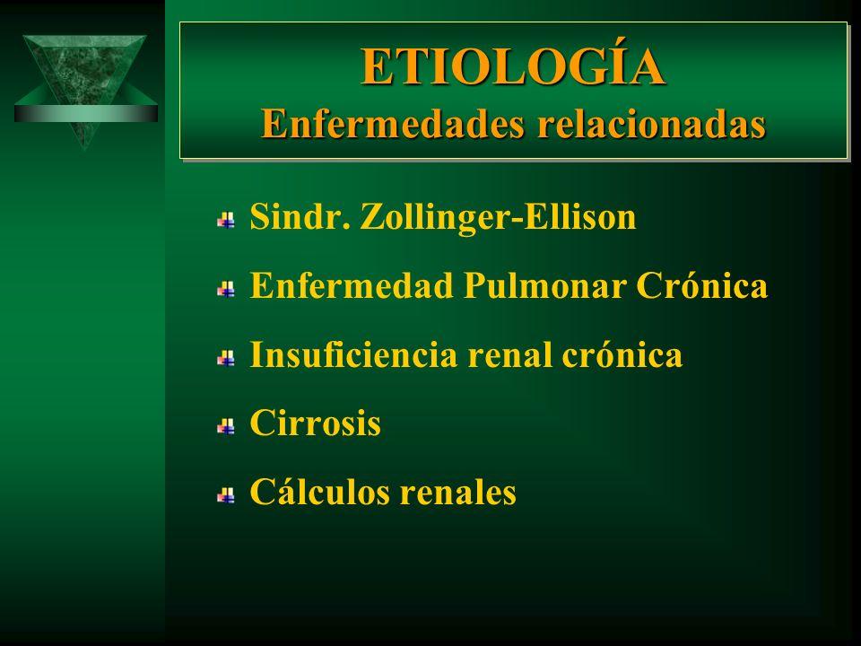 ETIOLOGÍA Enfermedades relacionadas