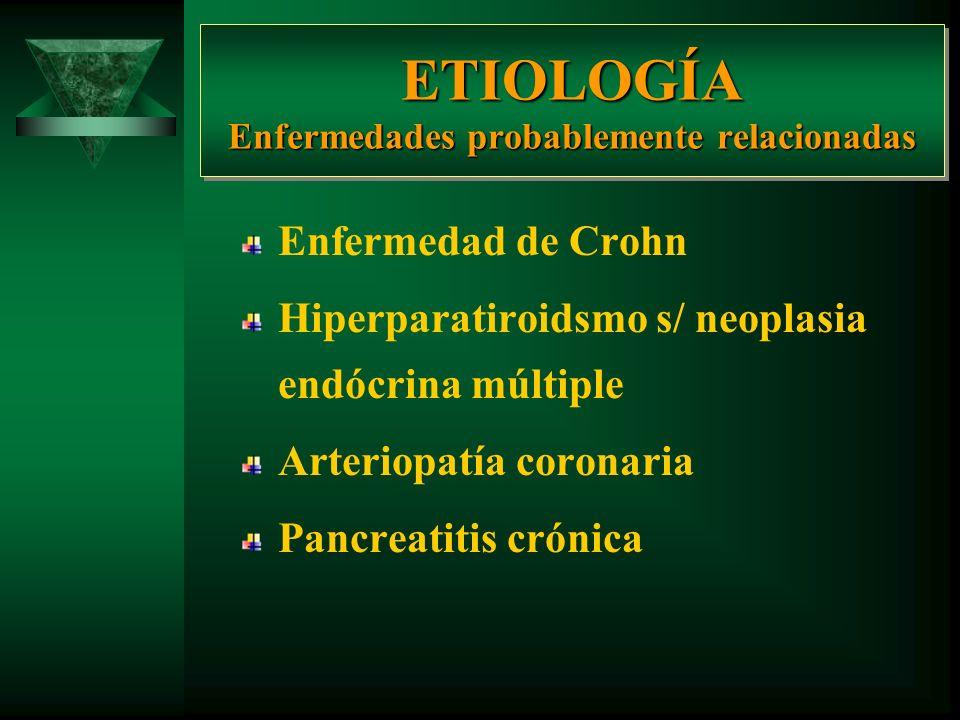 ETIOLOGÍA Enfermedades probablemente relacionadas