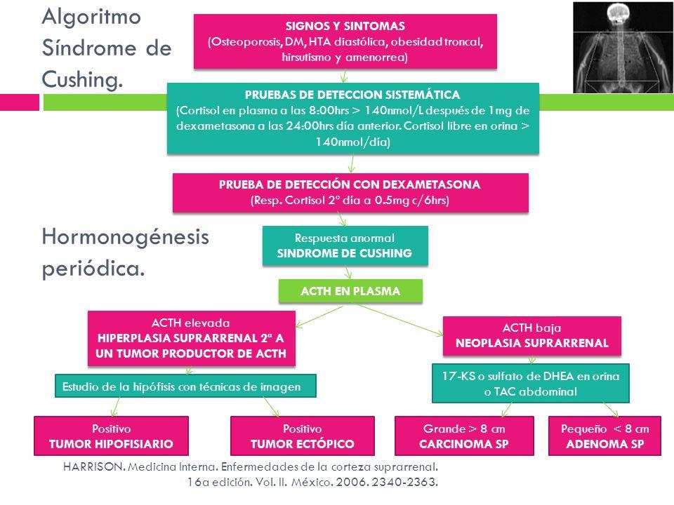 Algoritmo Síndrome de Cushing. Hormonogénesis periódica.