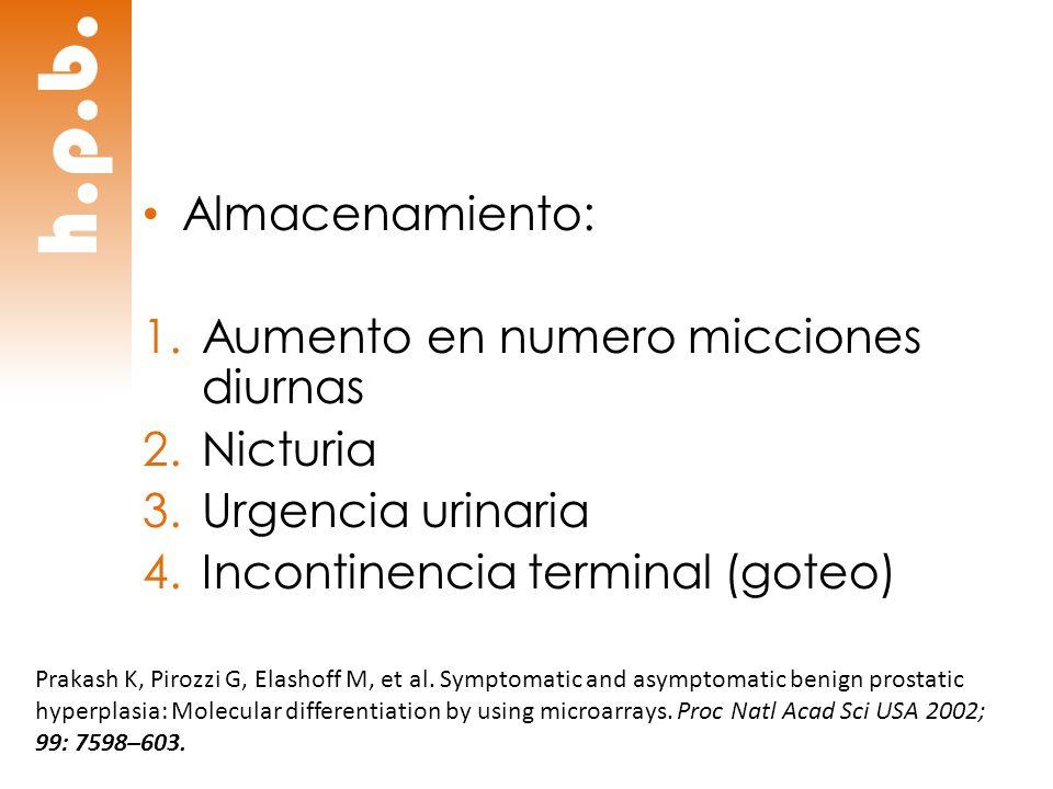 h.p.b. Almacenamiento: Aumento en numero micciones diurnas Nicturia