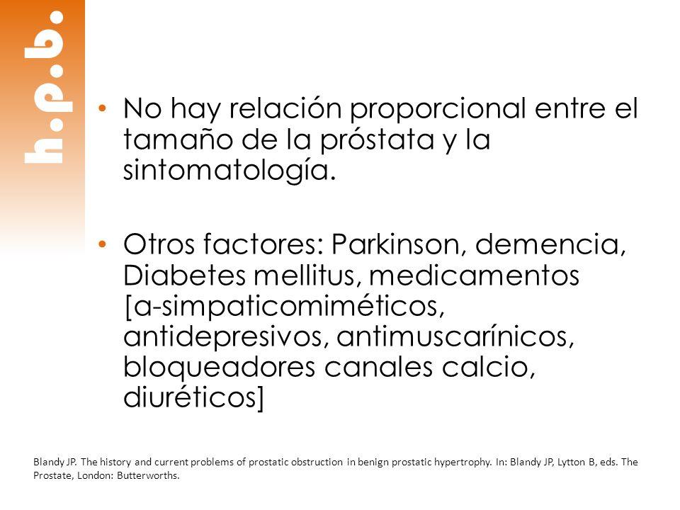 No hay relación proporcional entre el tamaño de la próstata y la sintomatología.