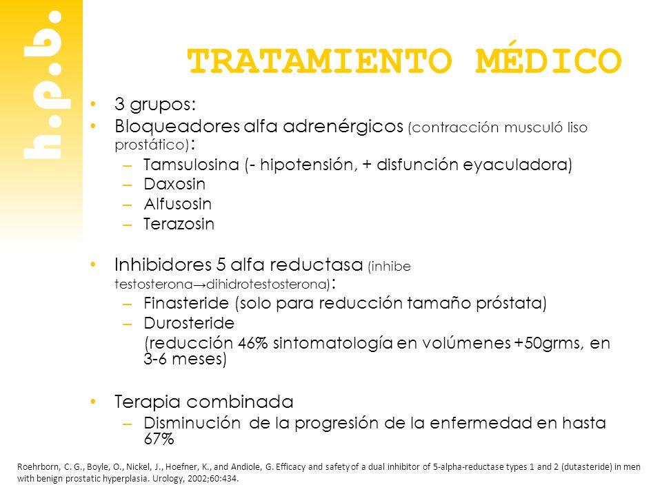h.p.b. TRATAMIENTO MÉDICO 3 grupos: