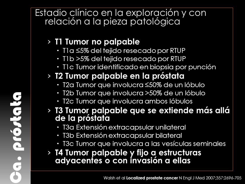 Estadio clínico en la exploración y con relación a la pieza patológica
