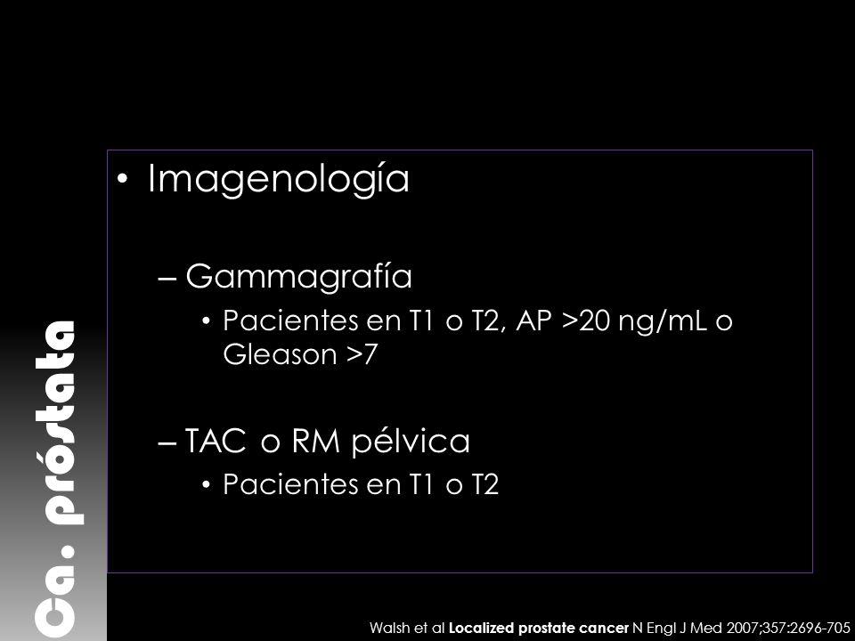 Ca. próstata Imagenología Gammagrafía TAC o RM pélvica