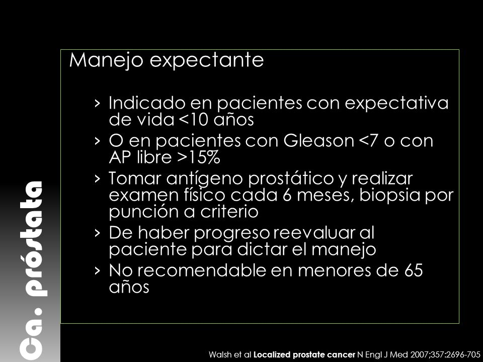 Ca. próstata Manejo expectante