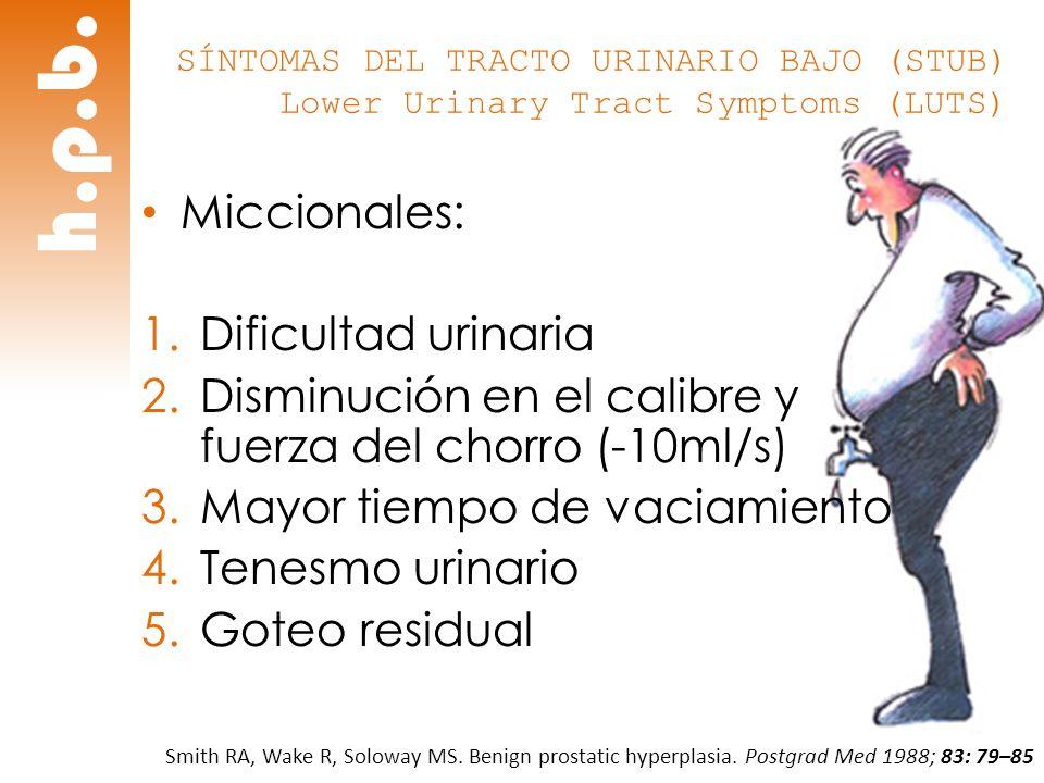 h.p.b. Miccionales: Dificultad urinaria