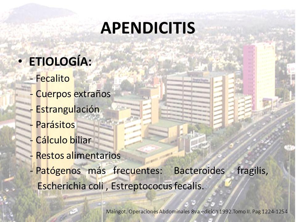 APENDICITIS ETIOLOGÍA: - Fecalito - Cuerpos extraños - Estrangulación
