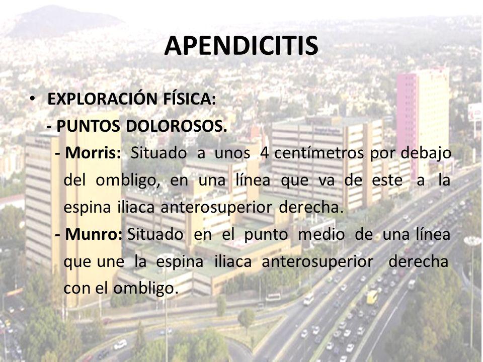 APENDICITIS EXPLORACIÓN FÍSICA: - PUNTOS DOLOROSOS.