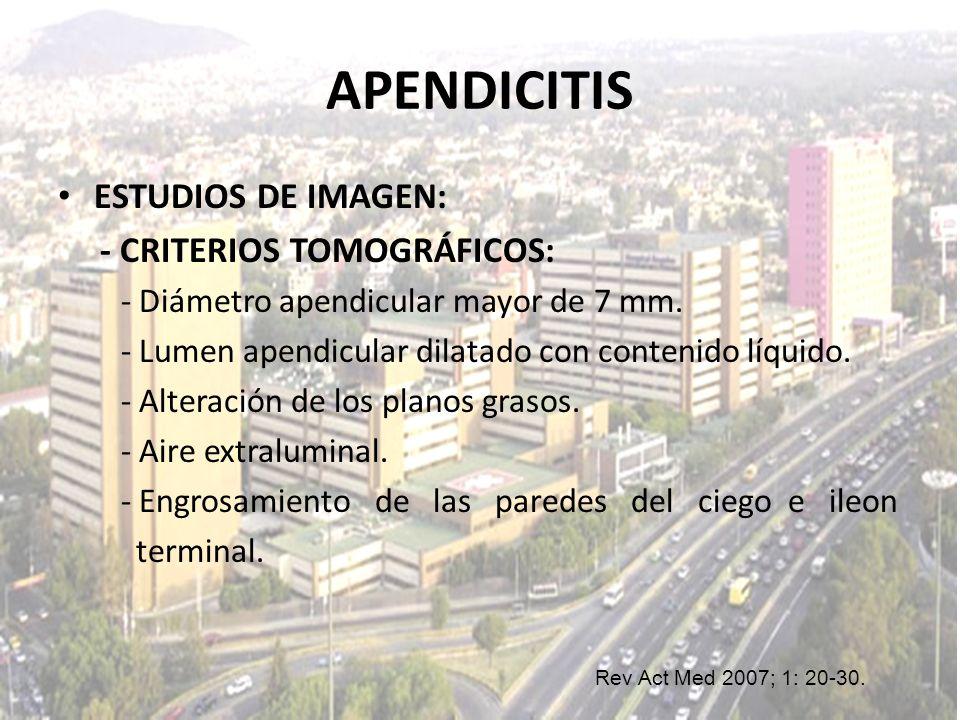 APENDICITIS ESTUDIOS DE IMAGEN: - CRITERIOS TOMOGRÁFICOS: