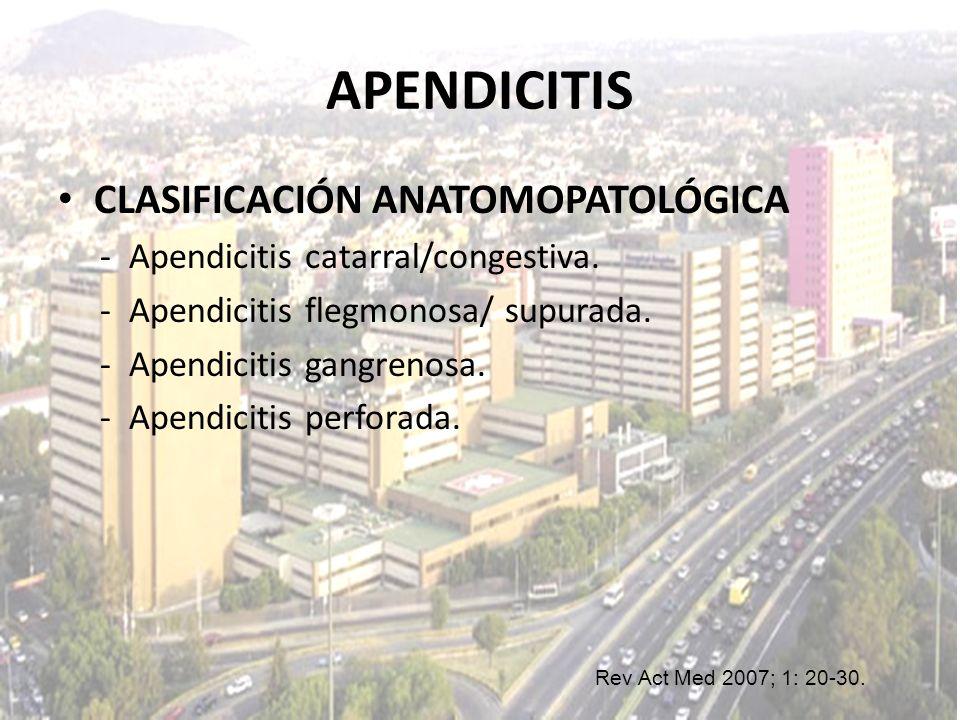 APENDICITIS CLASIFICACIÓN ANATOMOPATOLÓGICA