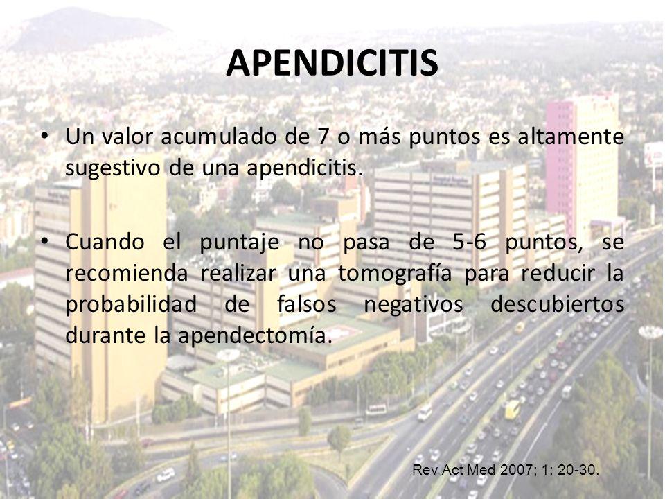APENDICITIS Un valor acumulado de 7 o más puntos es altamente sugestivo de una apendicitis.