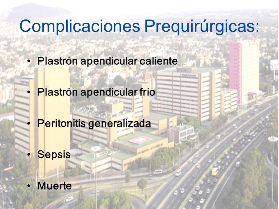 Complicaciones Prequirúrgicas: