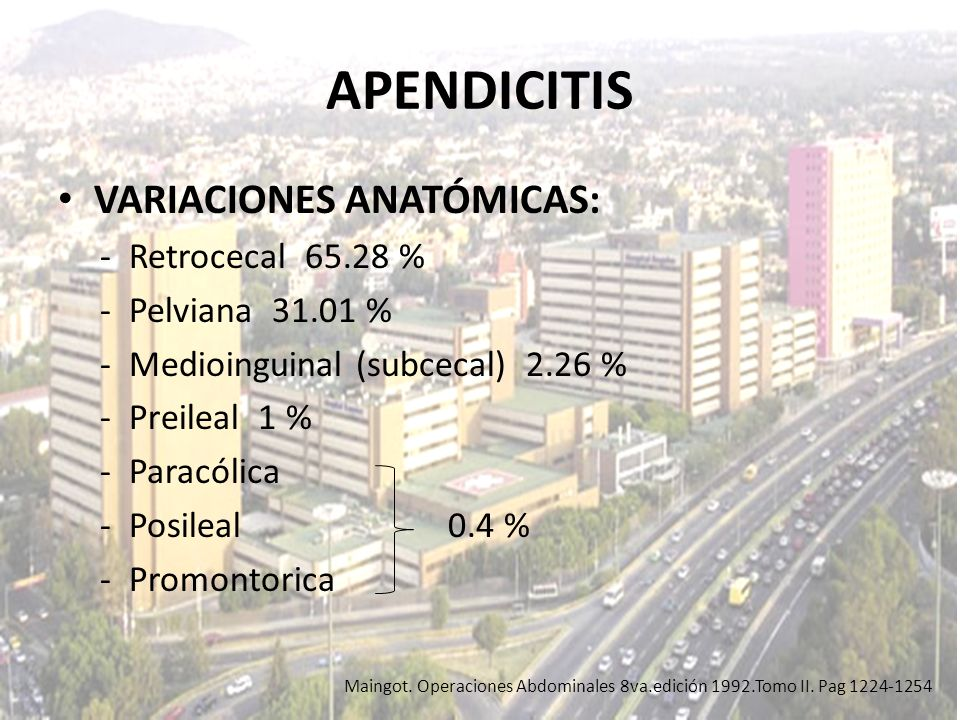 APENDICITIS VARIACIONES ANATÓMICAS: - Retrocecal 65.28 %