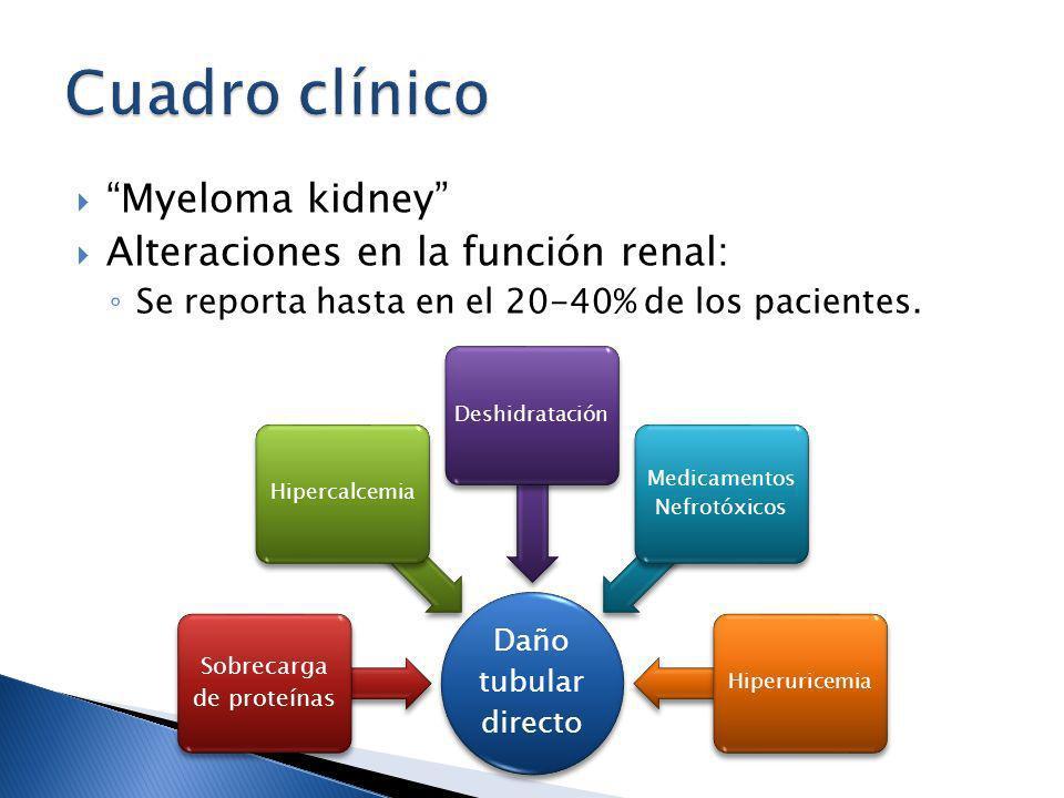 Cuadro clínico Myeloma kidney Alteraciones en la función renal: