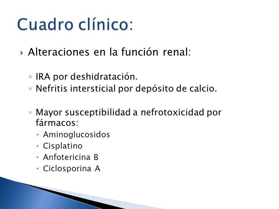 Cuadro clínico: Alteraciones en la función renal: