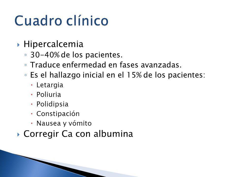 Cuadro clínico Hipercalcemia Corregir Ca con albumina