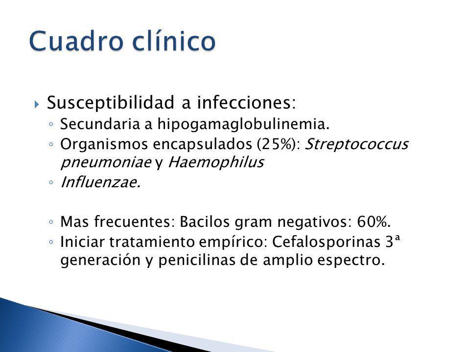 Cuadro clínico Susceptibilidad a infecciones: