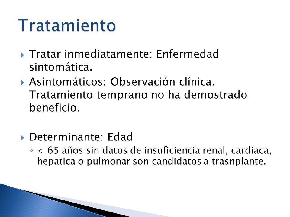 Tratamiento Tratar inmediatamente: Enfermedad sintomática.