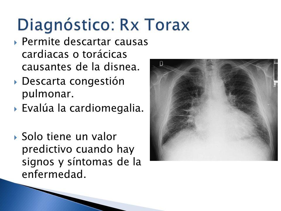 Diagnóstico: Rx Torax Permite descartar causas cardiacas o torácicas causantes de la disnea. Descarta congestión pulmonar.