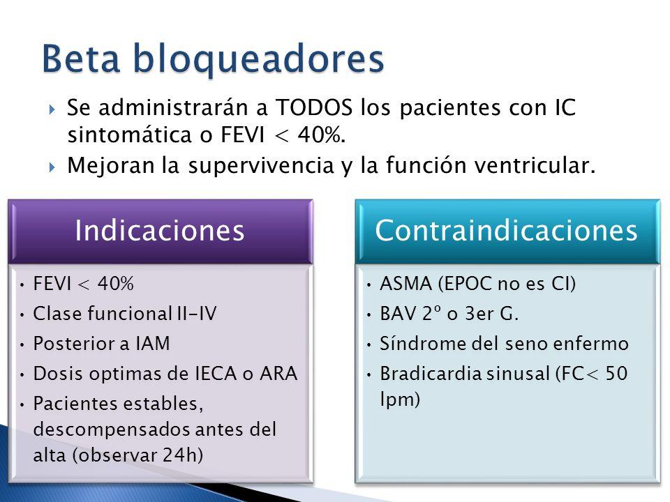 Beta bloqueadores Se administrarán a TODOS los pacientes con IC sintomática o FEVI < 40%. Mejoran la supervivencia y la función ventricular.
