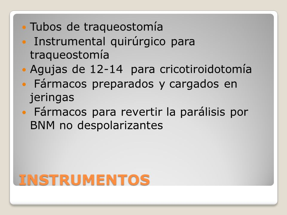 INSTRUMENTOS Tubos de traqueostomía