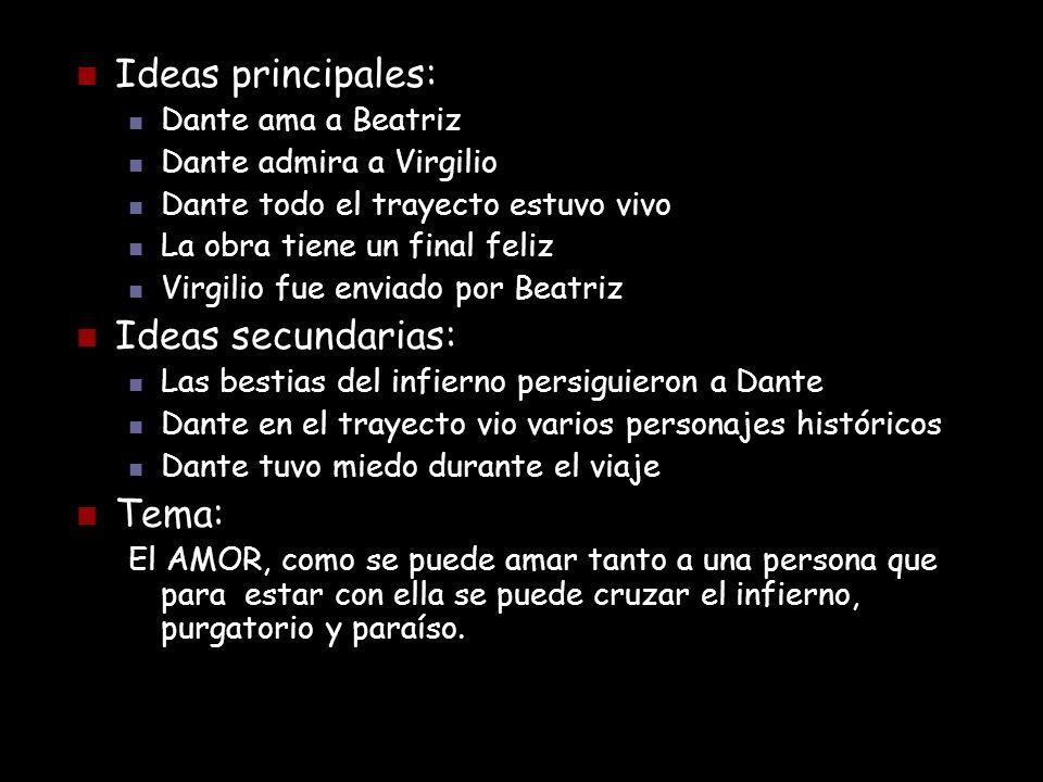 Ideas principales: Ideas secundarias: Tema: Dante ama a Beatriz