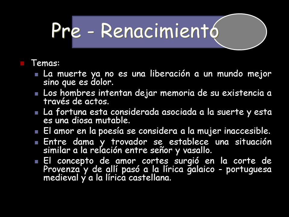 Pre - Renacimiento Temas: