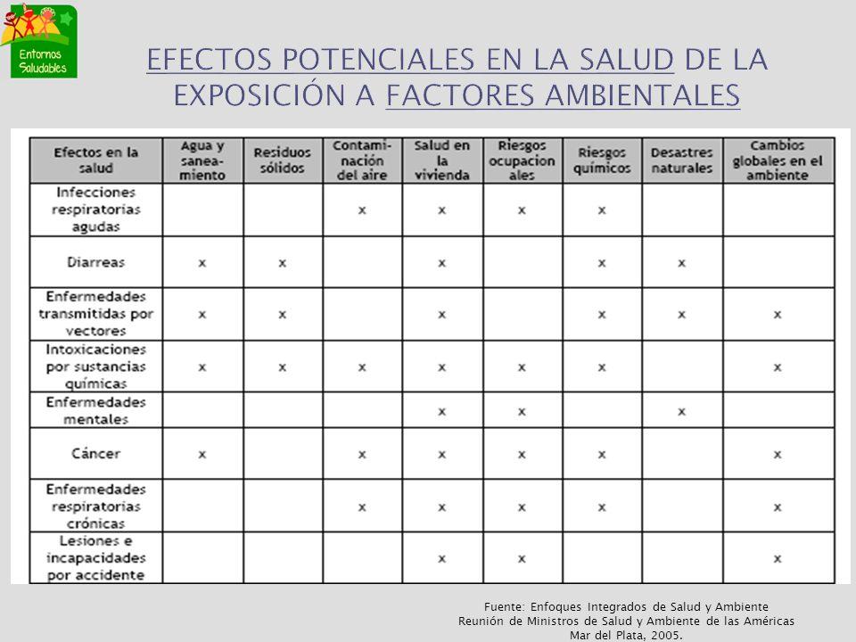 EFECTOS POTENCIALES EN LA SALUD DE LA EXPOSICIÓN A FACTORES AMBIENTALES