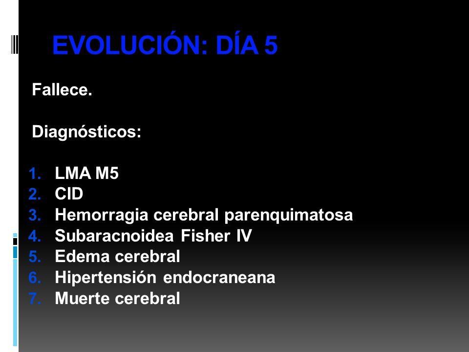 EVOLUCIÓN: DÍA 5 Fallece. Diagnósticos: LMA M5 CID