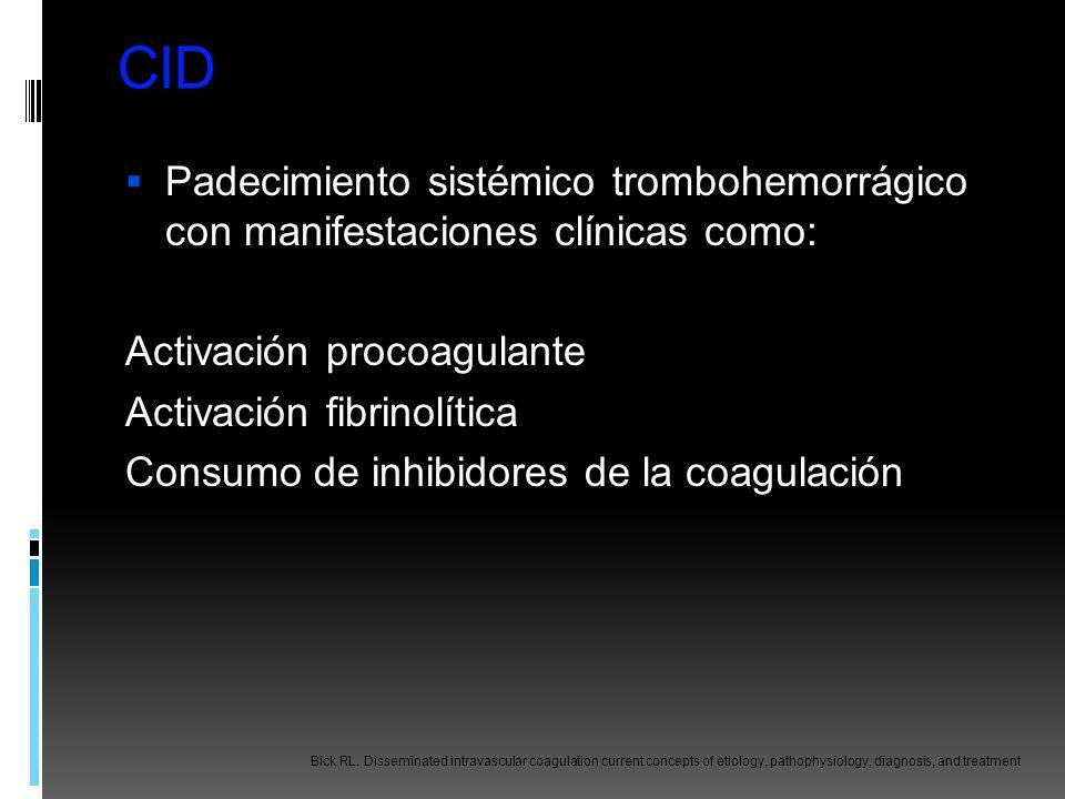 CID Padecimiento sistémico trombohemorrágico con manifestaciones clínicas como: Activación procoagulante.