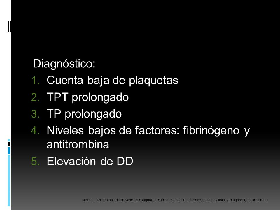 Cuenta baja de plaquetas TPT prolongado TP prolongado