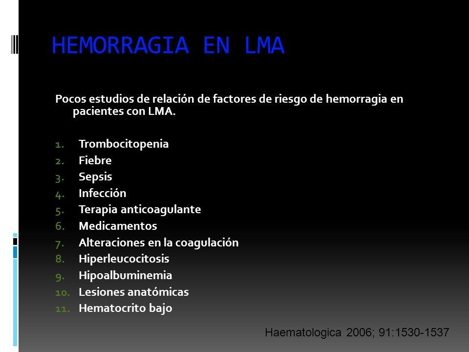 HEMORRAGIA EN LMA Pocos estudios de relación de factores de riesgo de hemorragia en pacientes con LMA.