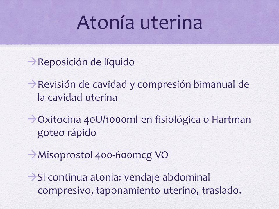 Atonía uterina Reposición de líquido