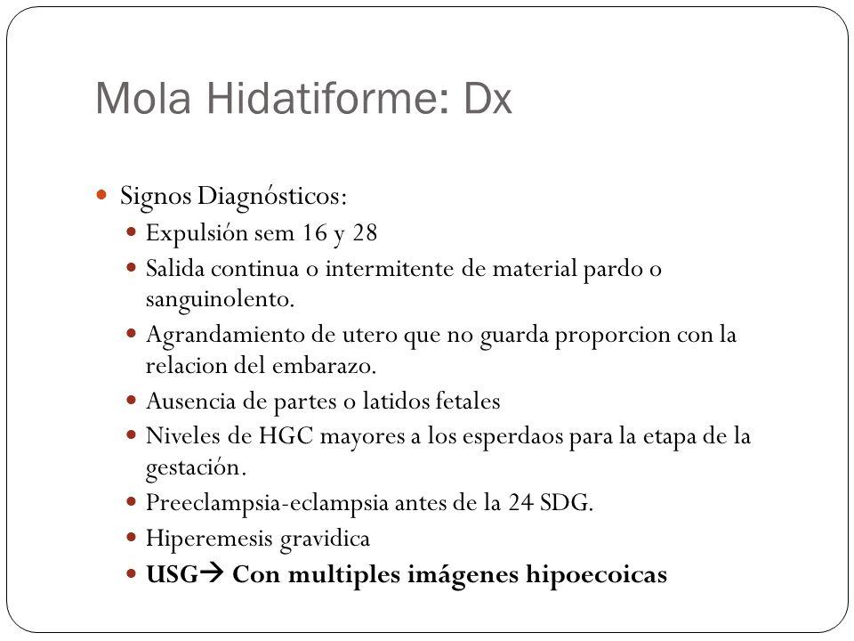 Mola Hidatiforme: Dx Signos Diagnósticos: Expulsión sem 16 y 28
