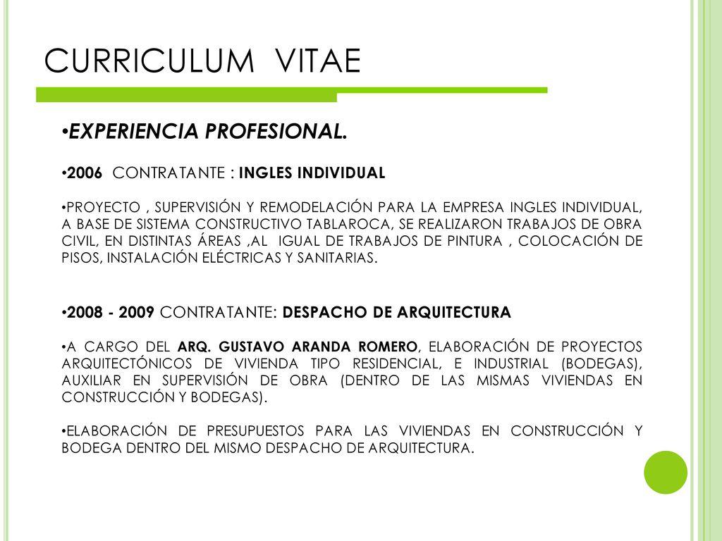 Curriculum vitae ppt descargar for Empresas de arquitectura