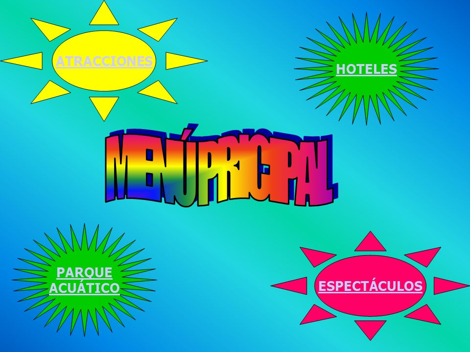 ATRACCIONES ESPECTÁCULOS PARQUE ACUÁTICO HOTELES MENÚ PRICIPAL