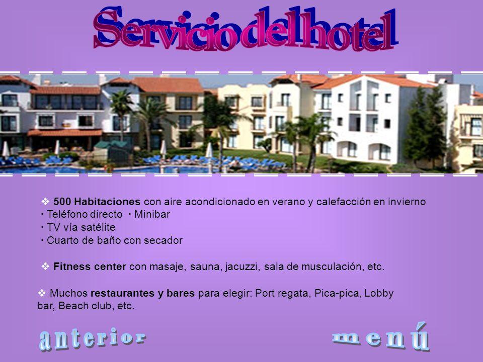 Servicio del hotel anterior menú