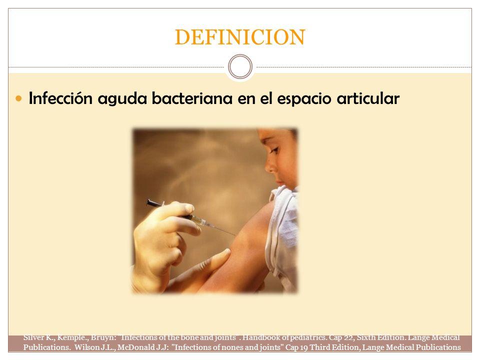 DEFINICION Infección aguda bacteriana en el espacio articular