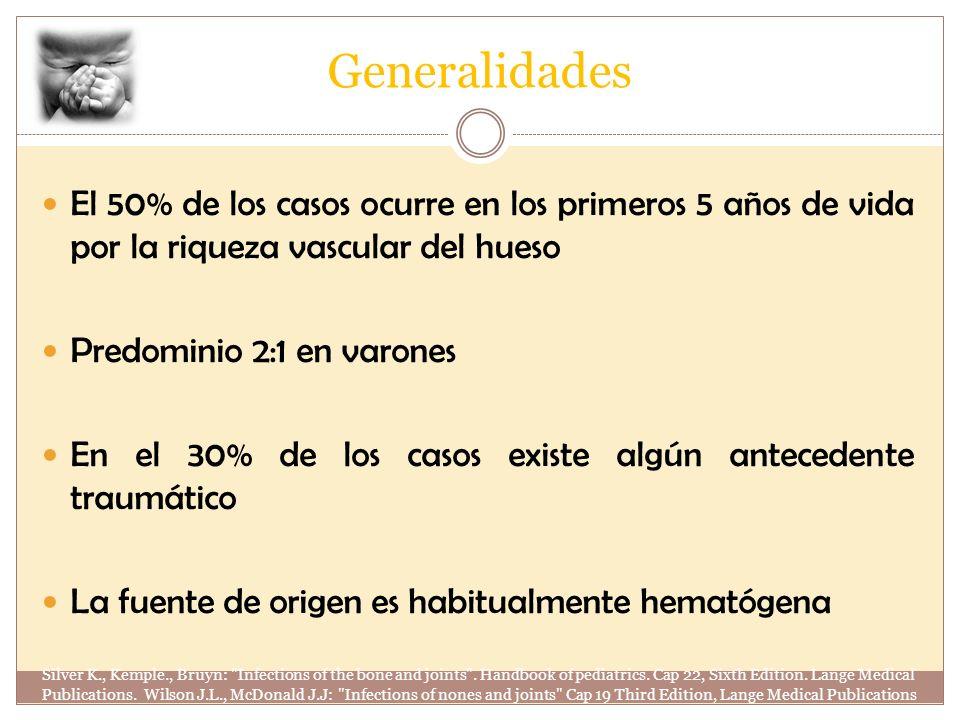 Generalidades El 50% de los casos ocurre en los primeros 5 años de vida por la riqueza vascular del hueso.