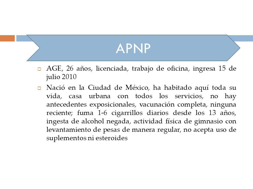 APNP AGE, 26 años, licenciada, trabajo de oficina, ingresa 15 de julio 2010.